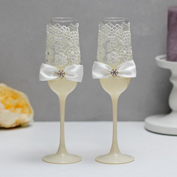 Свадебные бокалы Цветочный вальс (2 шт) (айвори)