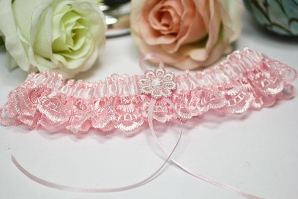 Свадебная подвязка на ногу Мадмуазель (розовый)