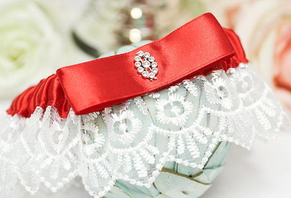 Подвязка для невесты на свадьбу Гламур (красный)