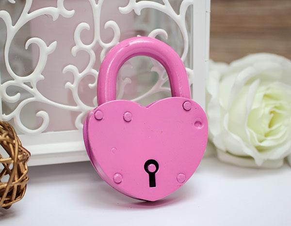 Замочек-сердце большой (розовый)