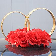 Кольца на свадебную машину Пышные розочки (красный)