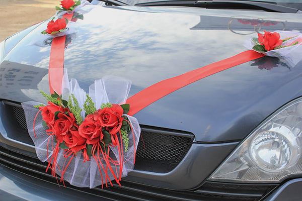 Лента на машину Свадебная мечта (красный)