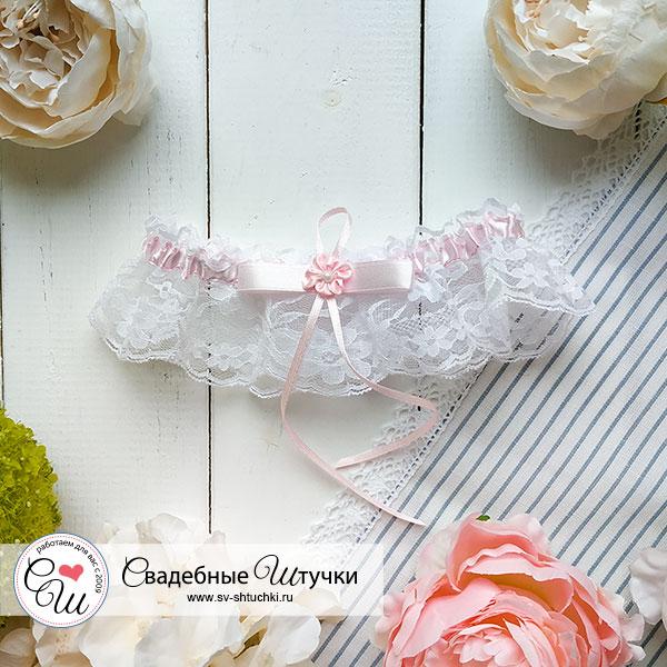 Подвязка для невесты Цветок (розовый)