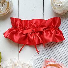 Свадебная подвязка на ногу невесты Элегант (красный)