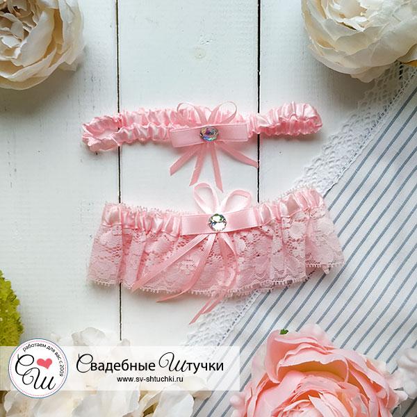 Свадебные подвязки для невесты Люкс (комплект, 2 шт.) (розовый)