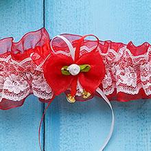 Свадебная подвязка Озорные сердечки (красный)