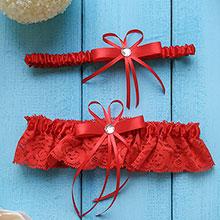 Свадебные подвязки для невесты Люкс (комплект, 2 шт.) (красный)