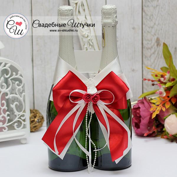 Декор для свадебного шампанского Romantic (красный)