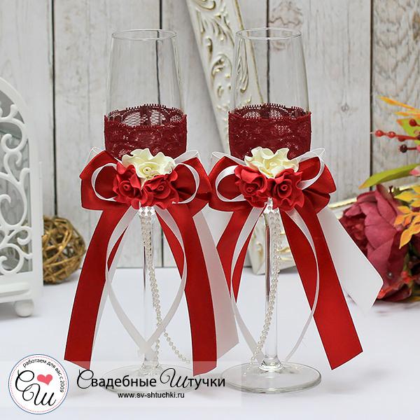 Свадебные бокалы для молодоженов Romantic (2 шт) (красный)