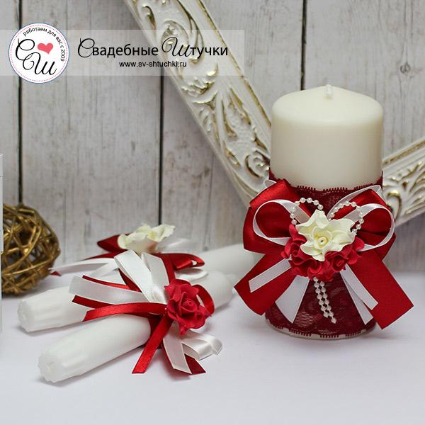Домашний очаг + 2 свечи Romantic (красный)