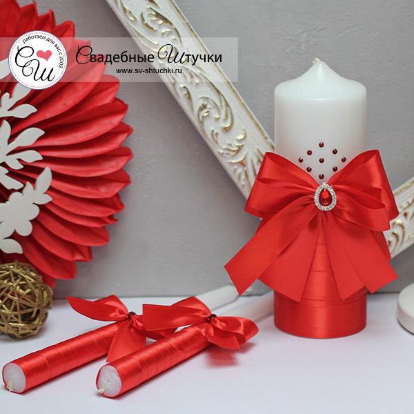 Свадебный набор свечей Ренессанс (без подсвечников) (красный)