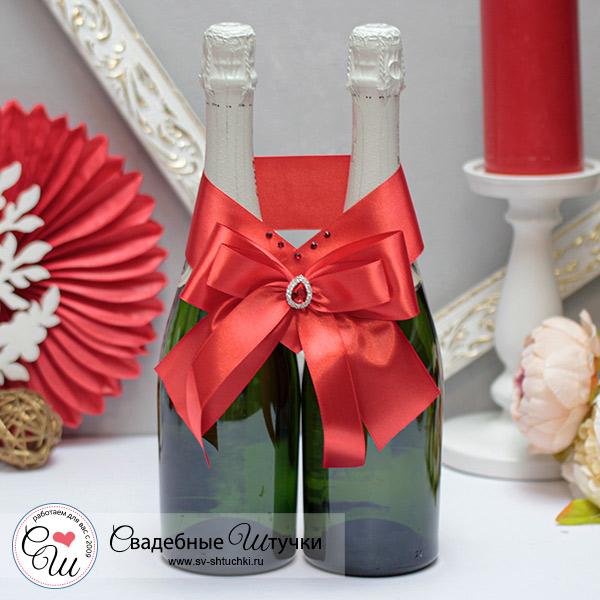 Свадебное украшение для шампанского Ренессанс (красный)