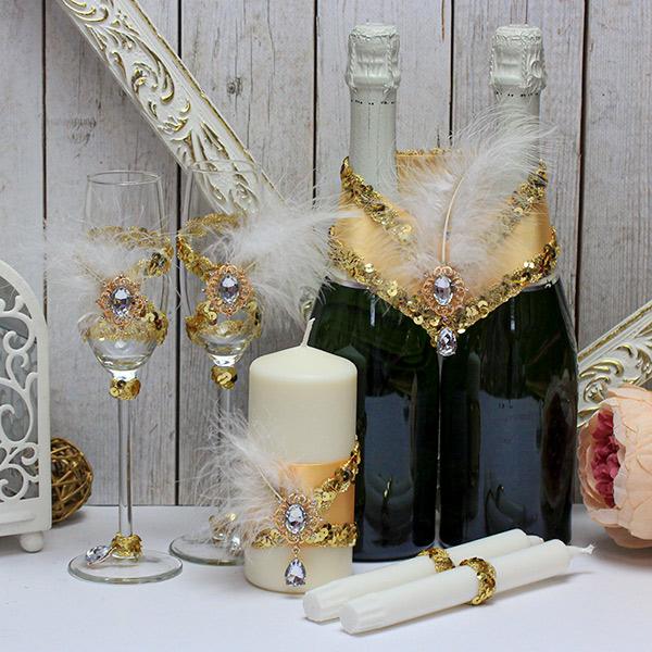 Набор свадебных аксессуаров в стиле гэтсби Шик и блеск (золотой)
