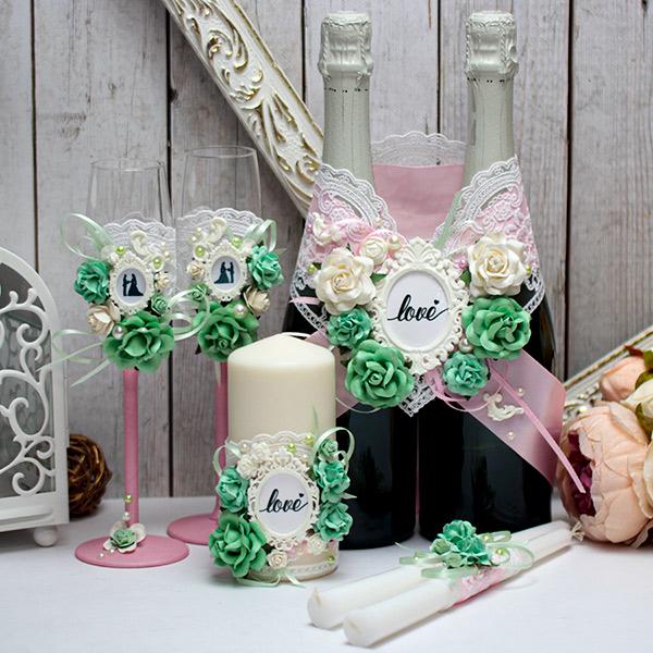 Комплект свадебных аксессуаров Таинственный сад (розовый)