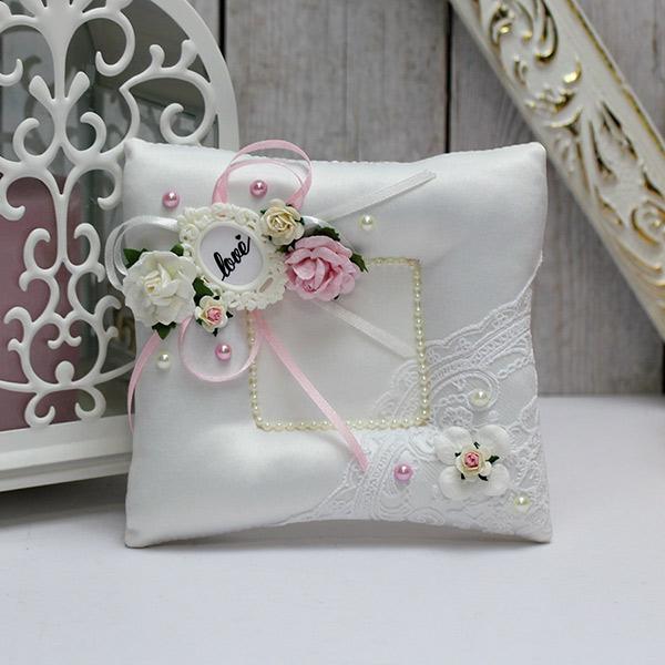 Свадебная подушка для колец Таинственный сад (розовый)