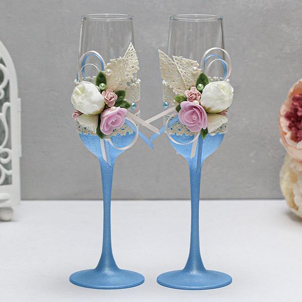 Свадебные бокалы ручной работы Весенний поцелуй (2 шт) (голубой)