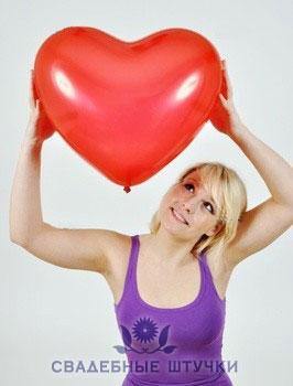 Шар Сердце красное - большой (63 см)