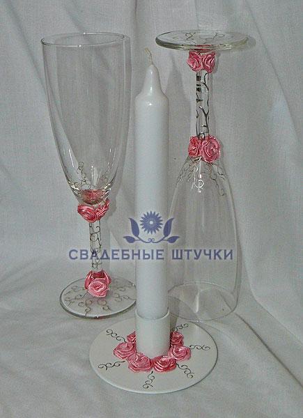 """Набор (3) """"Нежность"""" (бокалы + свеча)"""