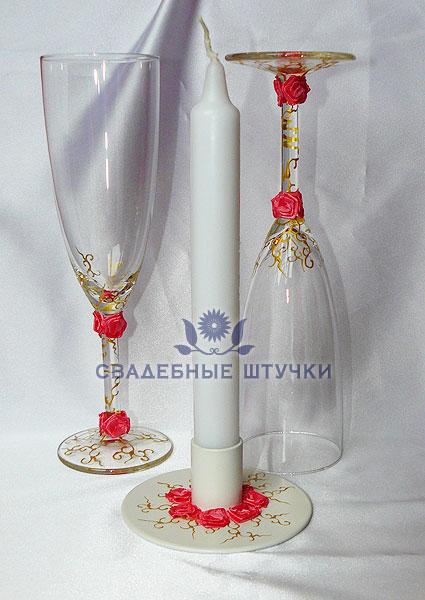 """Набор (3) """"Нежность - золото"""" (бокалы + свеча)"""