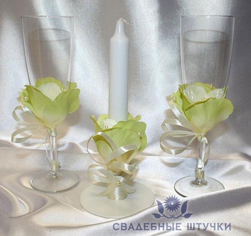"""Набор (3) """"Цветочная мечта """" (бокалы + свеча)"""