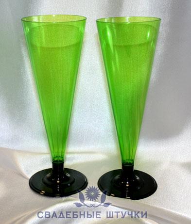 Фужеры пластиковые для шампанского (6 шт) (зеленый)