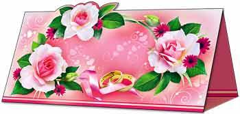 """Рассадочная карточка """"Розовые розы"""""""