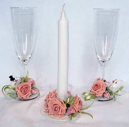 """Свадебный набор """"Голубки"""" (розовый, бок+свеча)"""