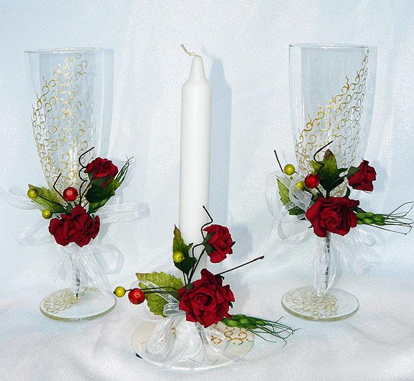 """Свадебный набор """"Эйфория"""" (красный, бок+свеча)"""