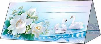 """Рассадочная  карточка """"Цветы и лебеди"""""""