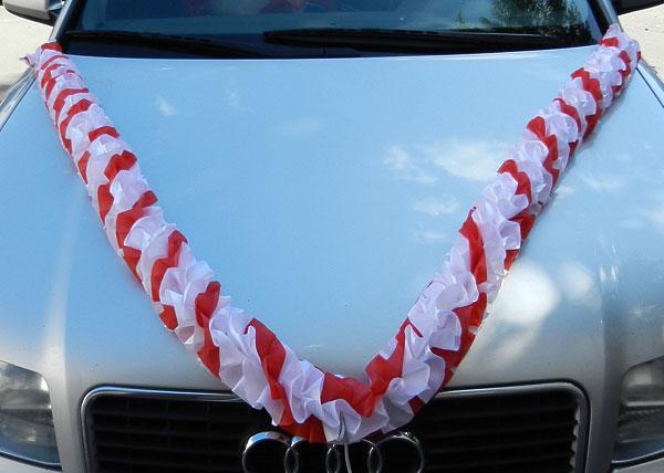Лента на свадебную машину Бомбочка (белый/красный)
