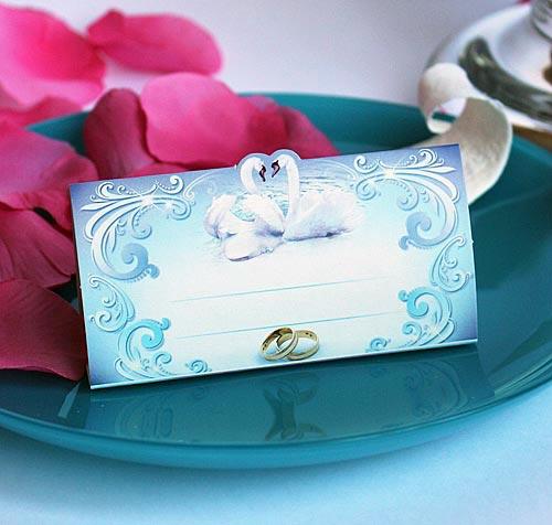 """Рассадочная карточка """"Влюбленные лебеди"""""""