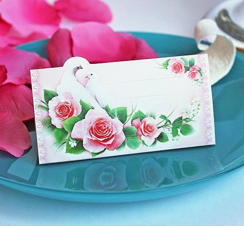 """Рассадочные карточки для гостей на свадьбу  """"Голуби и розы"""""""