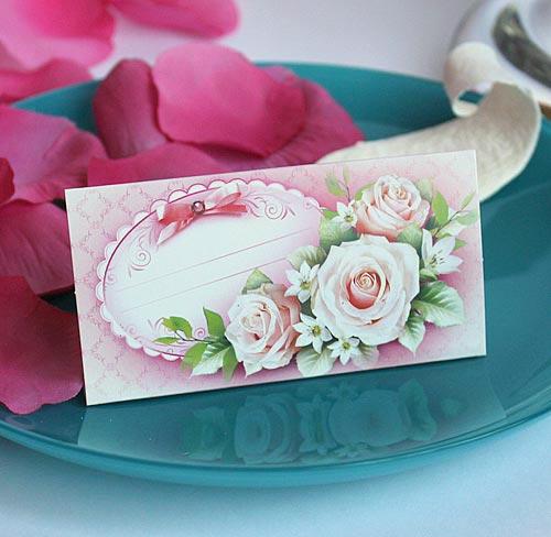 """Рассадочные карточки для гостей  """"Роза с бантом"""""""