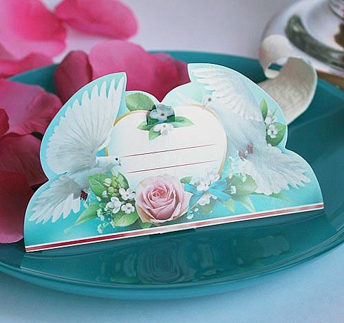 """Рассадочные карточки для гостей на свадьбу """"Влюбленные голуби"""""""