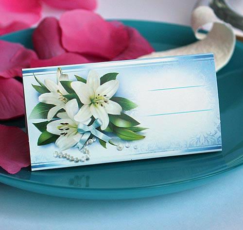 """Рассадочные карточки для гостей на свадьбу  """"Лилии в жемчуге"""""""