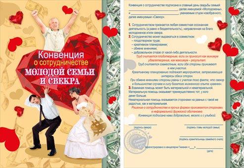 Свадебная конвенция о сотрудничестве молодой семьи и свекра