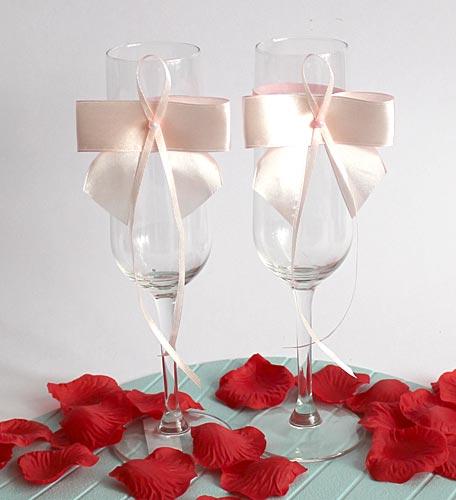 Украшение на бокалы Бант принцессы (2шт) (розовый)