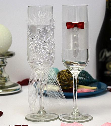 Свадебные бокалы Счастливая пара (2 шт) (красный)