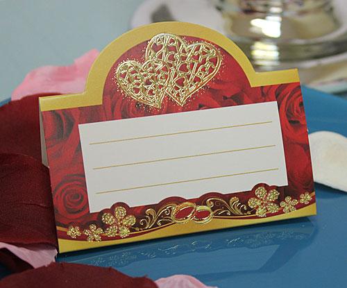 """Рассадочная  карточка """"Золотые сердца"""""""