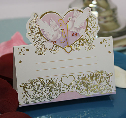 """Рассадочная карточка """"Голуби и сердце"""""""
