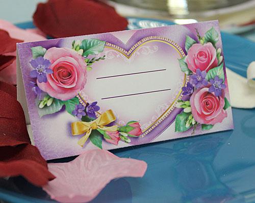 """Рассадочная карточка """"Сердце с розами"""""""