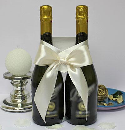 Украшение для шампанского Бант (айвори)