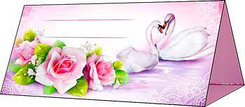 """Рассадочные карточки для гостей на свадьбу  """"Роза и лебеди"""" (роз"""