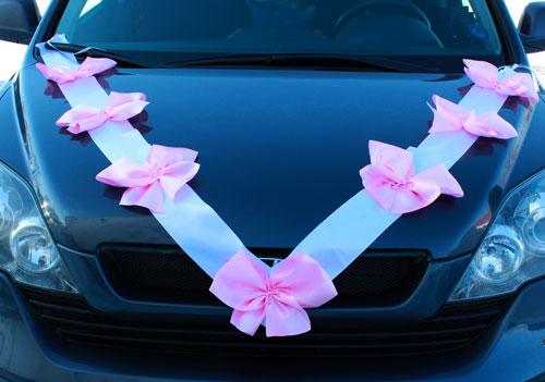 Автомобильные ленты на свадьбу Миледи (2 луча) (розовый/белый)