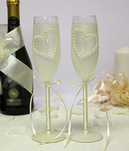 Свадебные бокалы с ручной росписью Сердца (айвори)