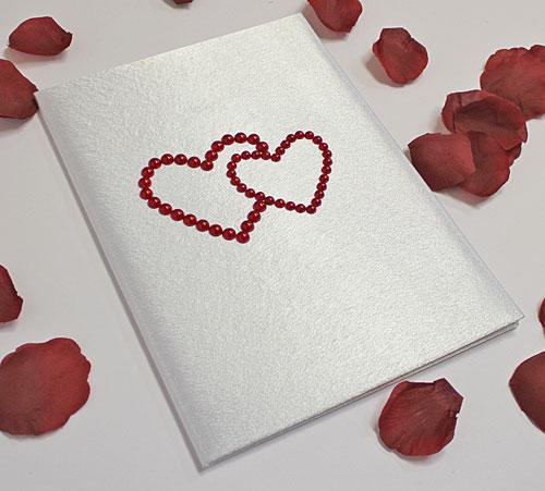 """Папка ручной работы """"Два сердца"""" (красный) для свидетельства 18х25 см."""