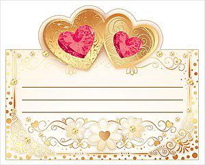 """Рассадочные  карточки для гостей на свадьбу  """"Сердца в вензелях"""" (красный)"""
