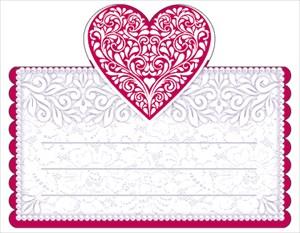 """Рассадочная  карточка для гостей """"Розовое сердце"""""""