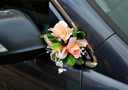 Бутоньерки на машину Цветочная фантазия (2 шт) (персиковый)