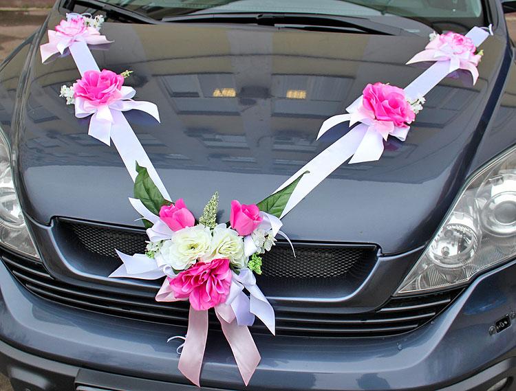Цветы из лент на свадебную машину